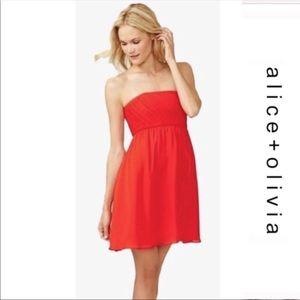 Alice Olivia pleated orange dress